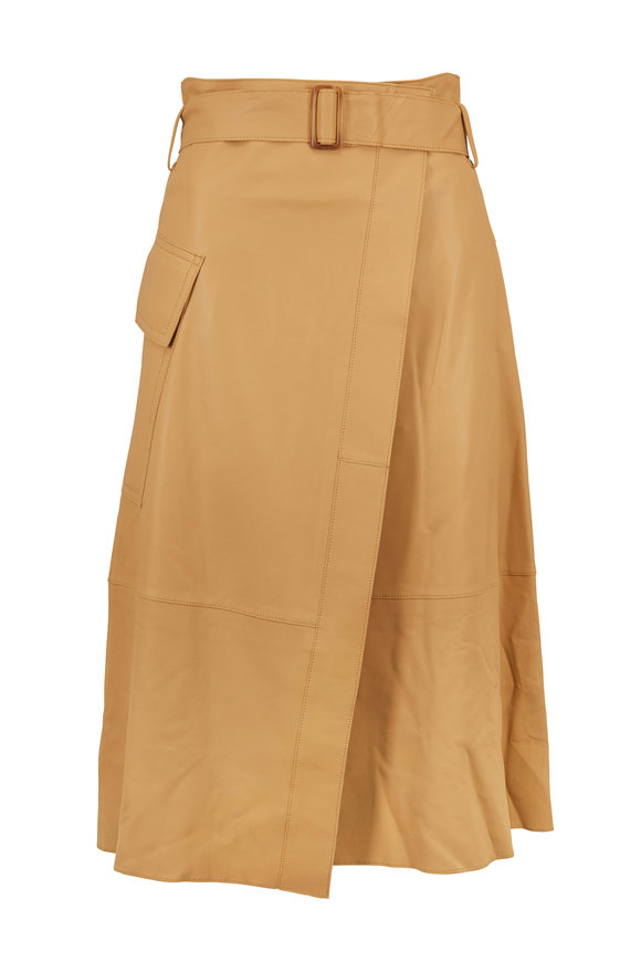 Vince Straw Leather Belted Wrap Skirt