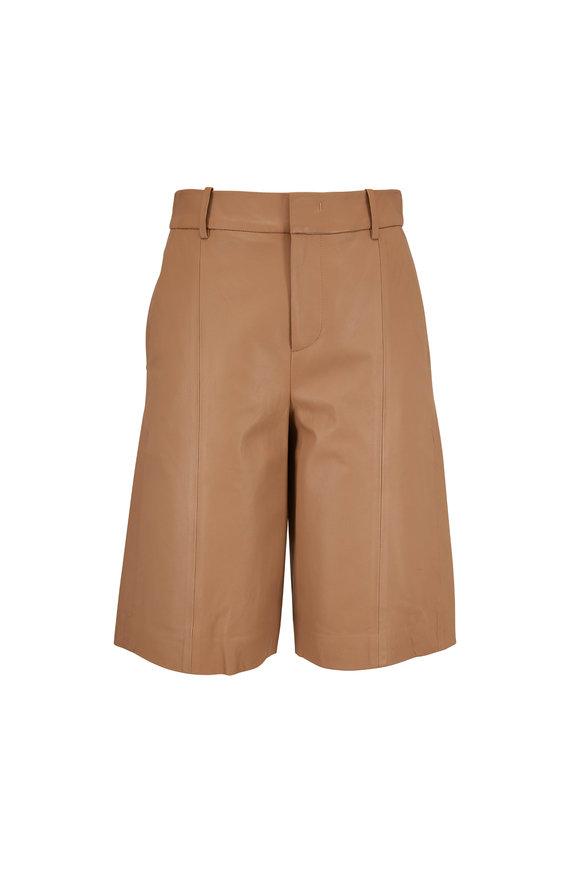 Vince Khaki Leather Shorts
