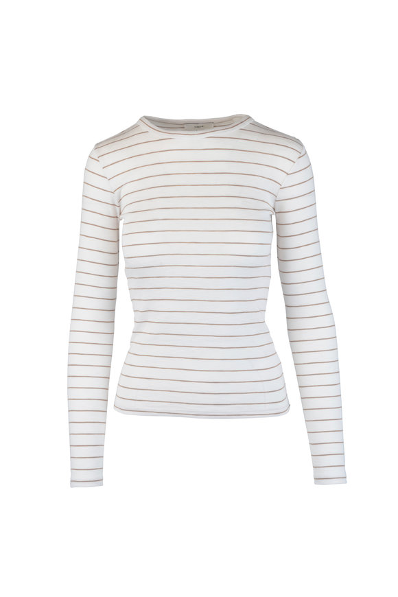 Vince Off White & Dune Striped Long Sleeve T-Shirt