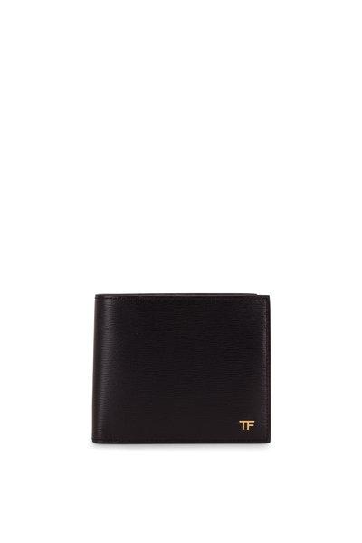 Tom Ford - T-Line Black Grained Leather Bi-Fold Wallet