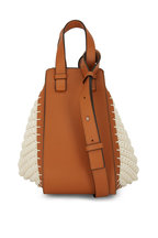 Loewe - Hammock Tan Leather & Natural Knit Small Bag