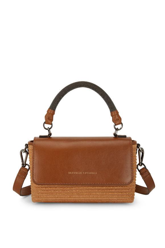 Brunello Cucinelli Brown Leather & Raffia Monili Handle Small Bag
