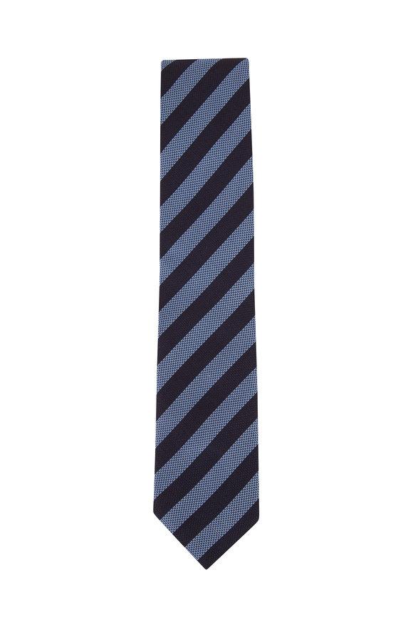 Ermenegildo Zegna Navy Blue Textured Stripe Silk Necktie