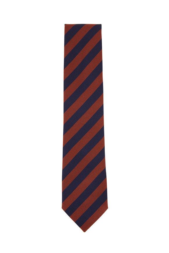 Ermenegildo Zegna Navy Blue & Orange Textured Silk Necktie