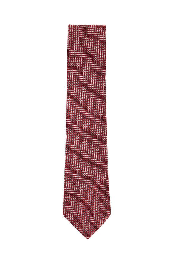 Ermenegildo Zegna Red & White Silk Necktie