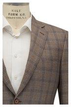 Brioni - Light Tan & Light Blue Plaid Wool Sportcoat