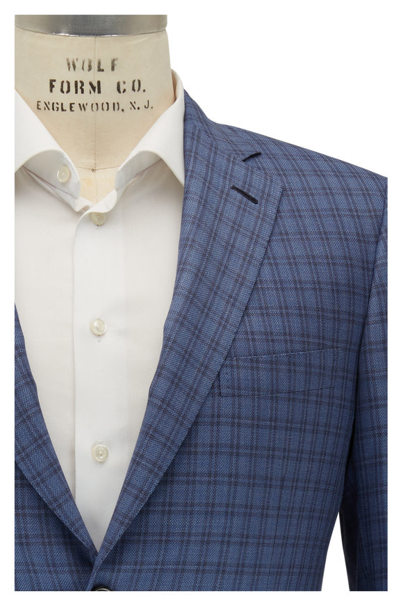 Brioni Blue Large Check Wool & Silk Sportcoat
