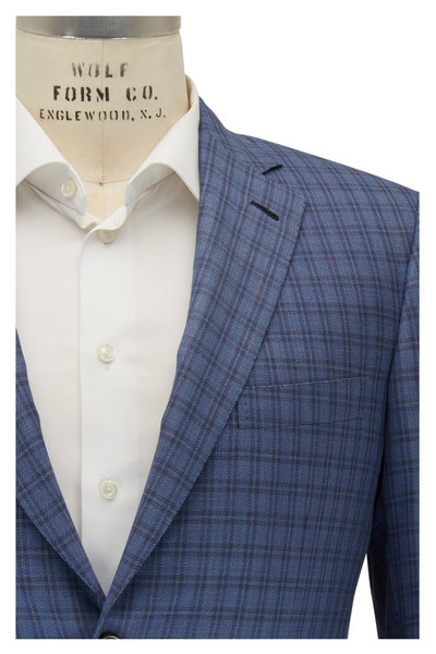 Brioni - Blue Large Check Wool & Silk Sportcoat