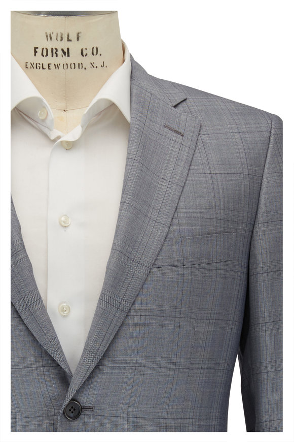 Brioni Light Gray & Blue Plaid Wool & Silk Suit