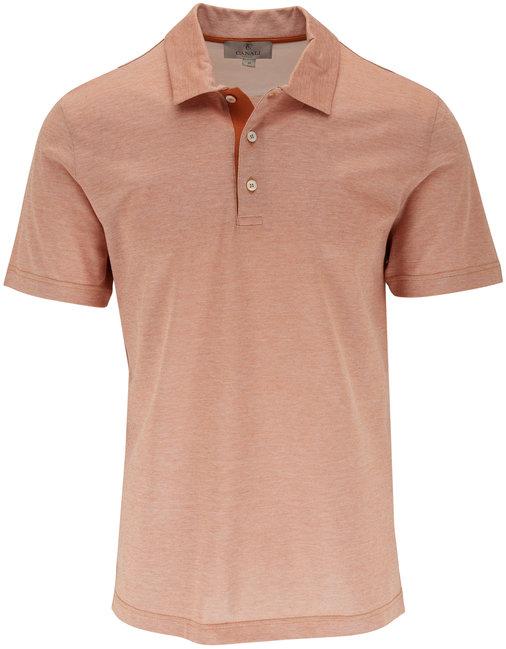 Canali Orange Piqué Short Sleeve Polo