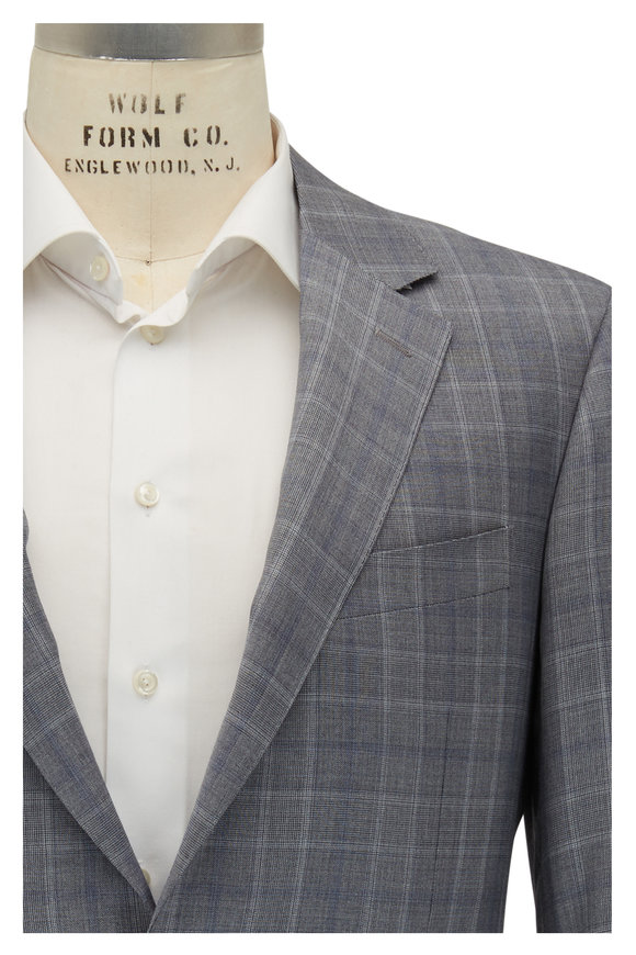 Canali Gray Plaid Wool Suit
