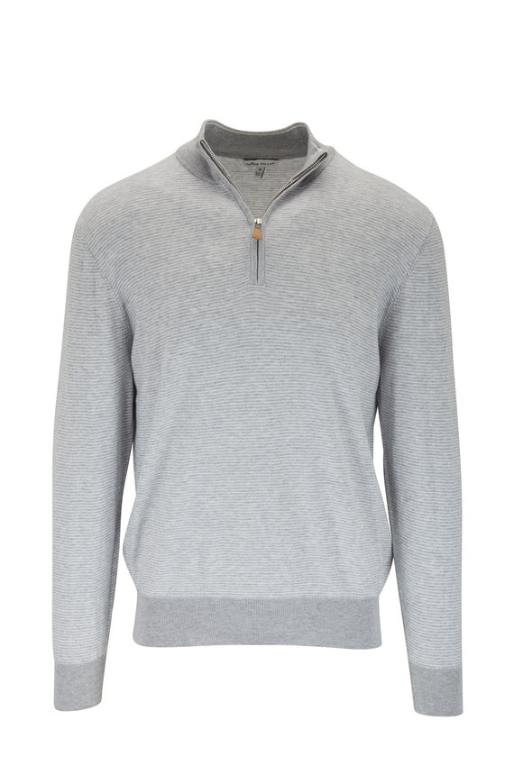 Peter Millar British Gray Needle Stripe Quarter-Zip Pullover