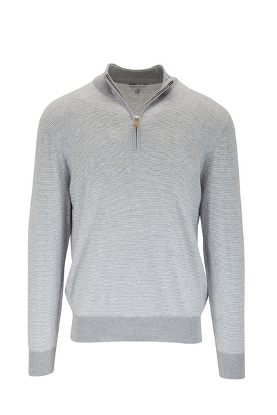 Peter Millar - British Gray Needle Stripe Quarter-Zip Pullover