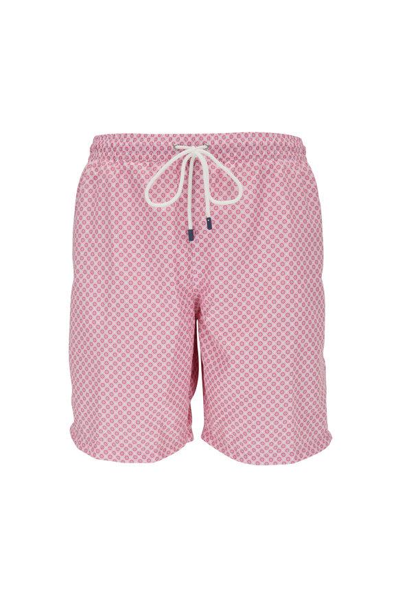 Fedeli Pink Floral Printed Swim Trunks