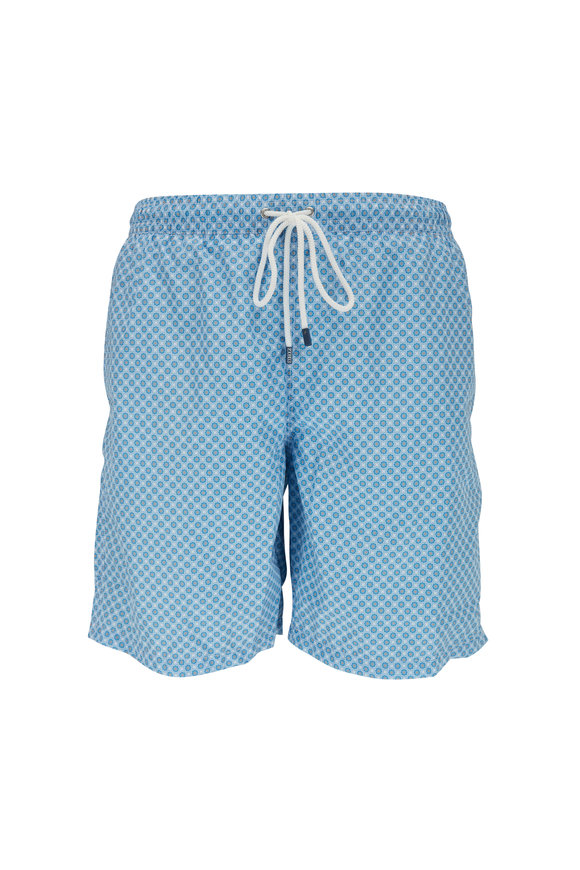 Fedeli Blue Floral Printed Swim Trunks