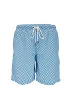 Fedeli - Blue Floral Printed Swim Trunks