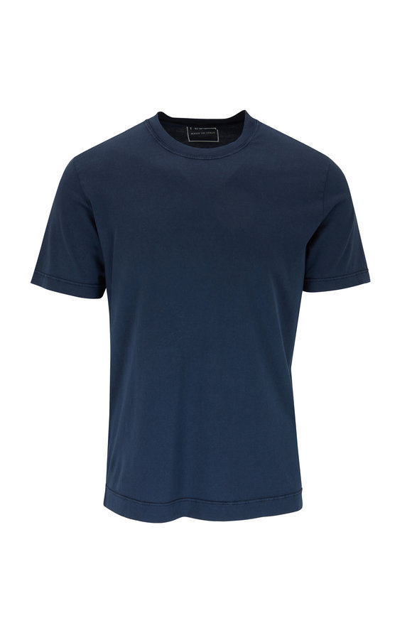 Fedeli Navy Cotton Crewneck T-Shirt
