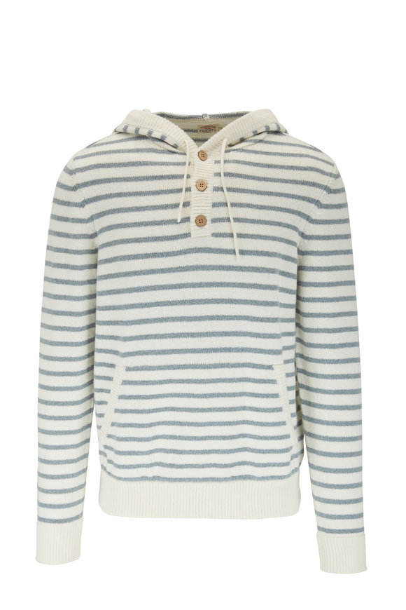 Faherty Brand Cove Blue & Ivory Stripe Hooded Sweater Poncho