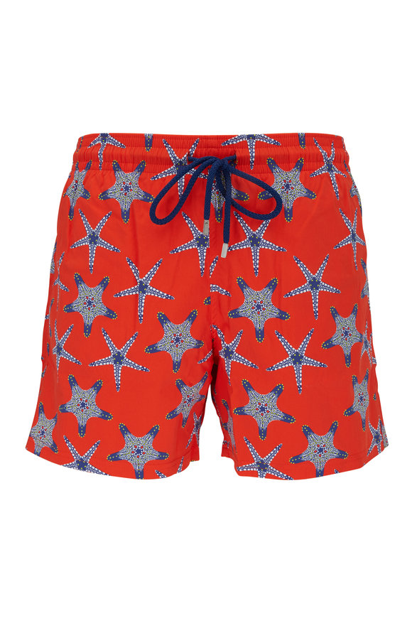 Vilebrequin Moorise Red Starfish Dance Swim Trunks