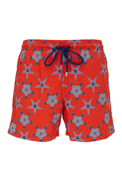 Vilebrequin - Moorise Red Starfish Dance Swim Trunks