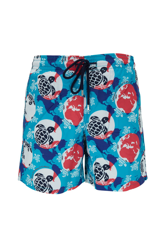Vilebrequin Moorea Light Blue Turtle Dots Print Swim Trunks