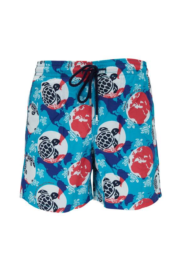 Vilebrequin Moorea Light Blue Turtle Dots Print Swim Trunks
