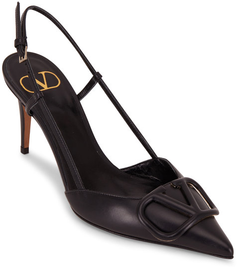 Valentino Garavani V-Logo Black Leather Slingback, 80mm
