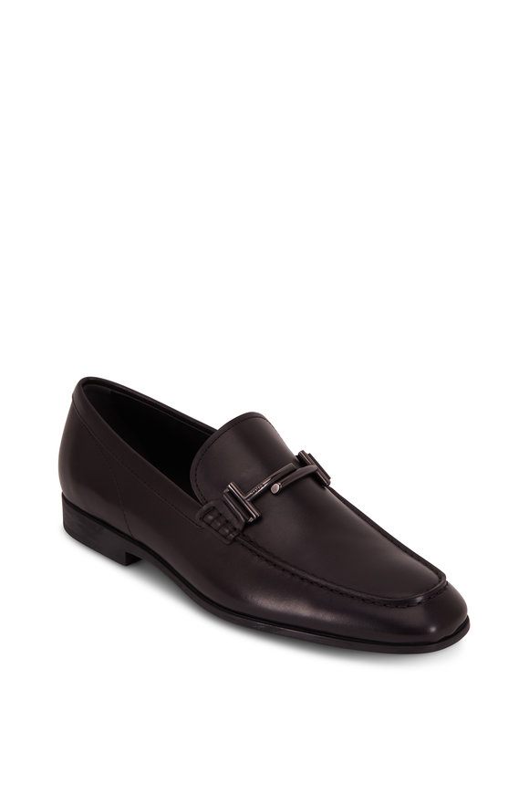 Tod's Doppia Double T Black Leather Bit Loafer