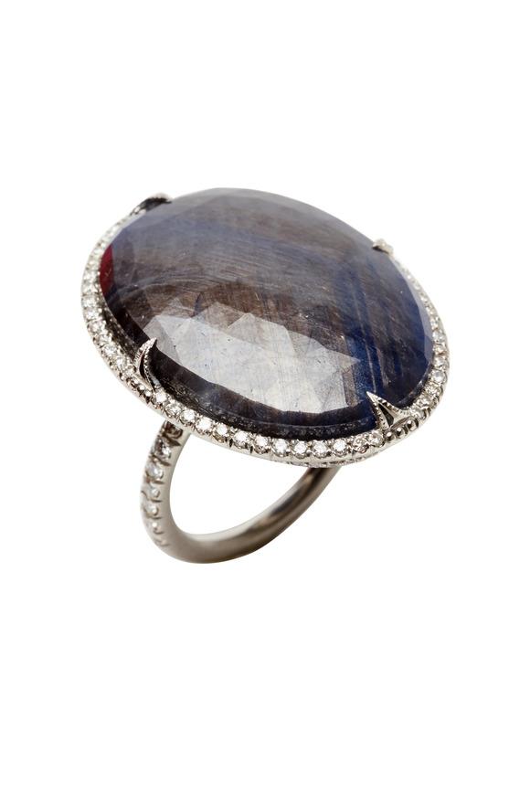 Sylva & Cie Platinum Sapphire Diamond Ring