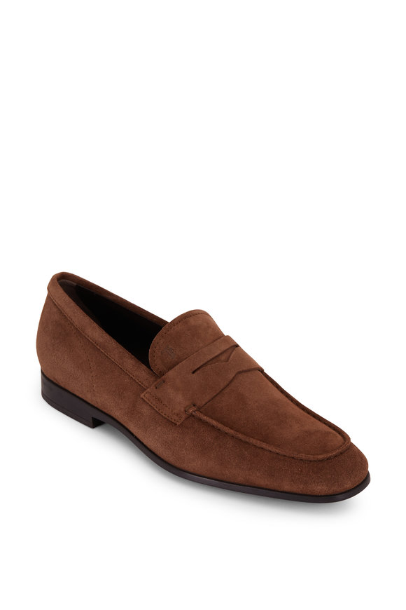 Tod's Gomma Light Brown Suede Penny Loafer