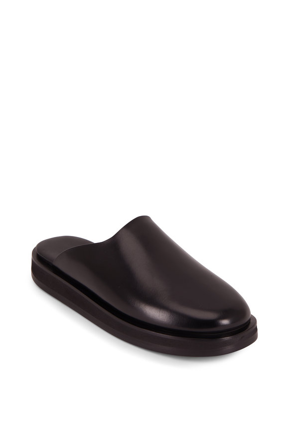 The Row Sabot Black Leather Flat Mule