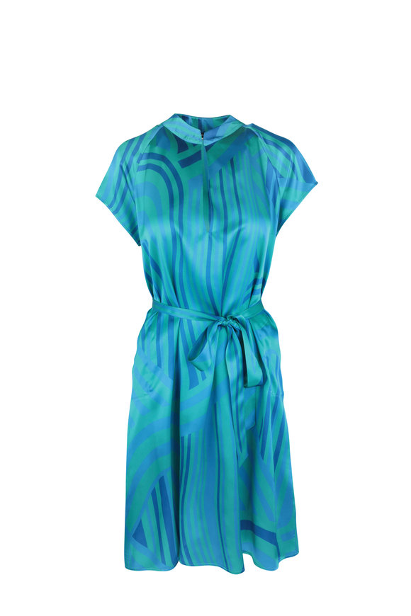 Kiton Turquoise & Blue Graphic Print Silk Dress