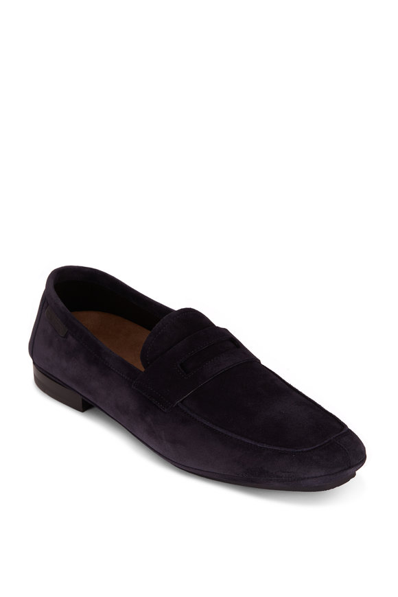Tom Ford Deep Navy Suede Soft Driver
