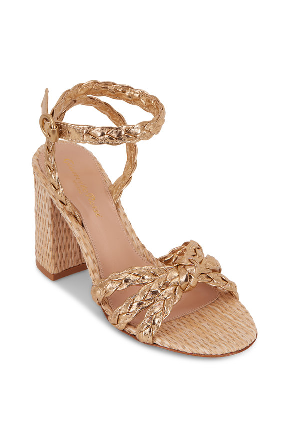 Gianvito Rossi Bee Gold Braided Leather & Raffia Sandal, 85mm