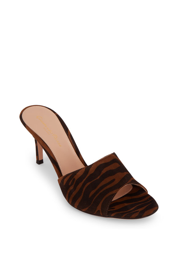 Gianvito Rossi Cherie Brown & Black Zebra Print Suede Mule, 70mm