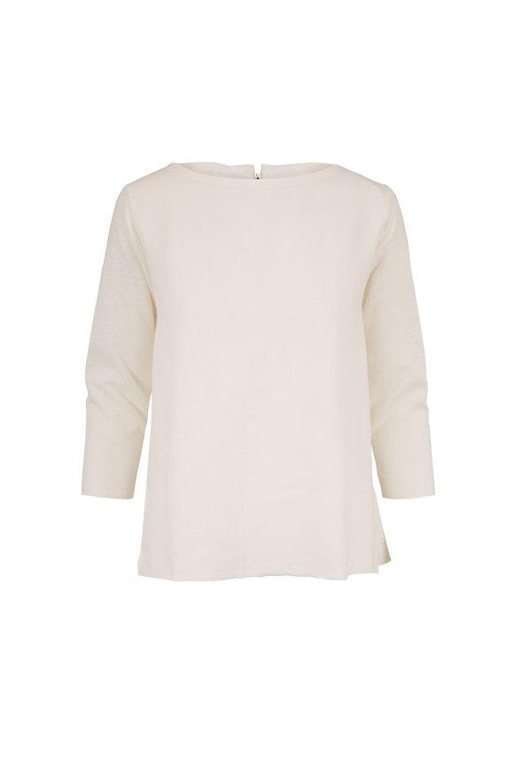 Majestic White Linen Boatneck Back Zip T-Shirt
