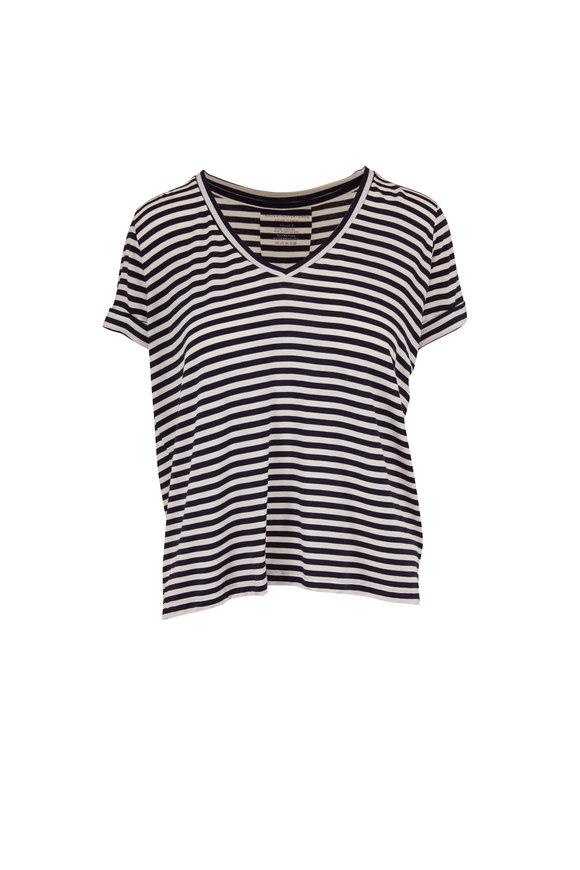 Majestic Milk & Marine Stripe Superwashed V-Neck T-Shirt