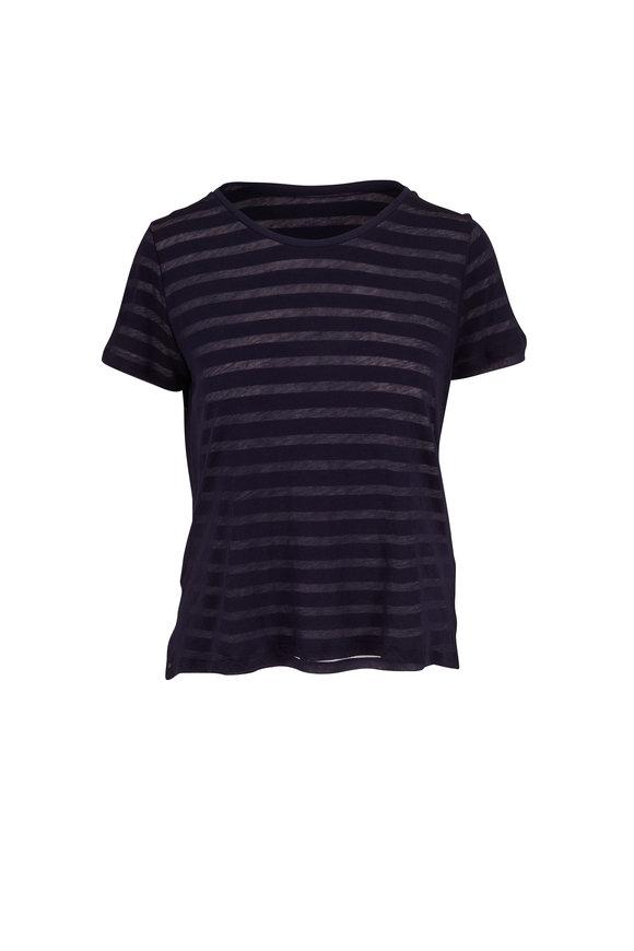 Majestic Marine Blue Double Layer Stripe Crewneck T-Shirt