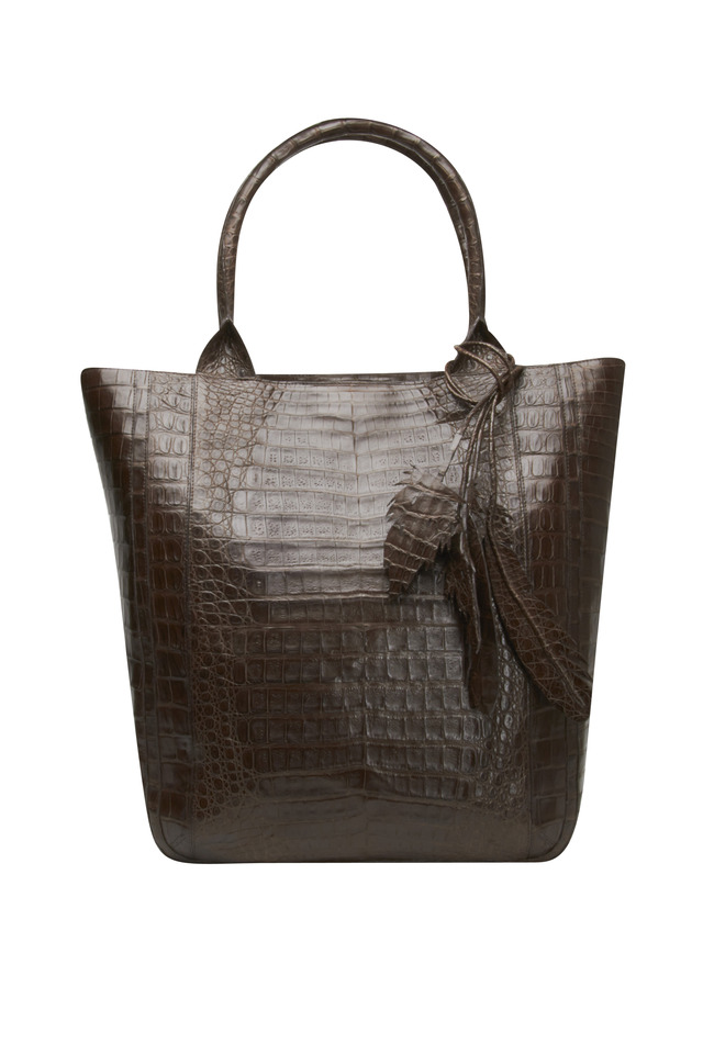 North South Brown Crocodile Medium Tote