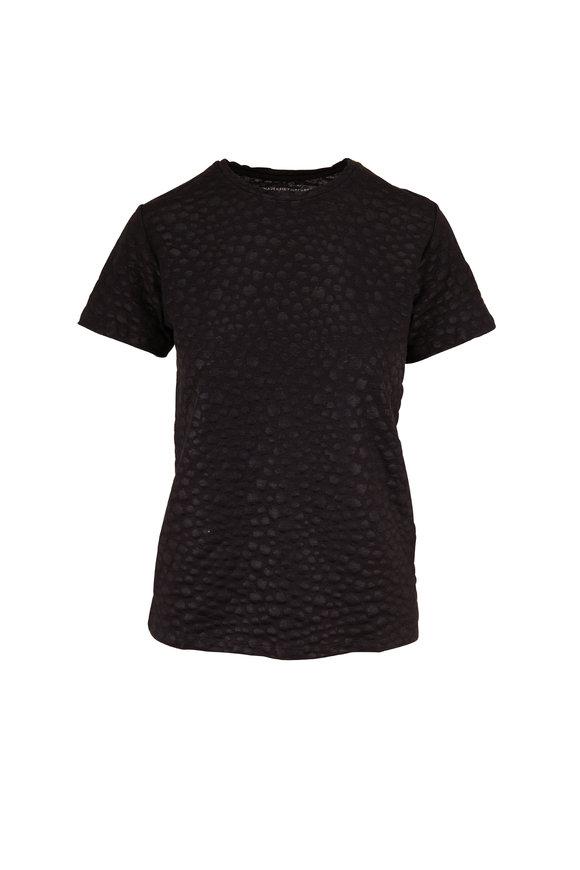 Majestic Black Stretch Linen Tonal Leopard T-Shirt