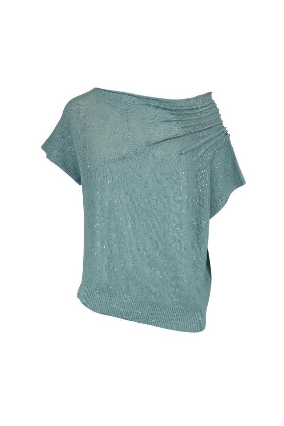 Brunello Cucinelli Exclusively Ours! Aqua Linen & Silk Paillette Top