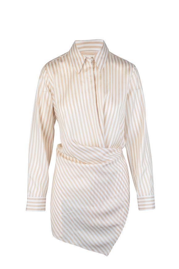 Dorothee Schumacher Striped Sensation Beige & White Wrap Silk Blouse