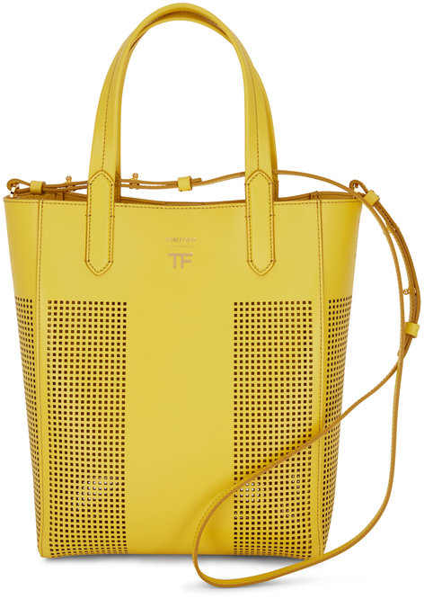 Tom Ford Yellow Perforated Leather North South Tote