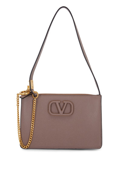 Valentino Garavani - V-Sling Clay Grained Leather Small Pouch Bag