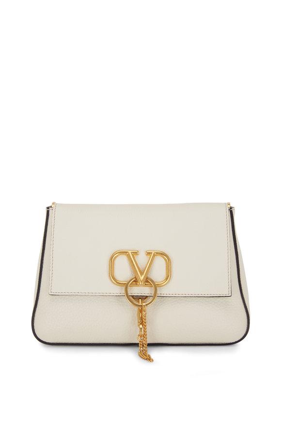 Valentino Garavani V-Sling Ivory Leather Webb Strap Small Bag