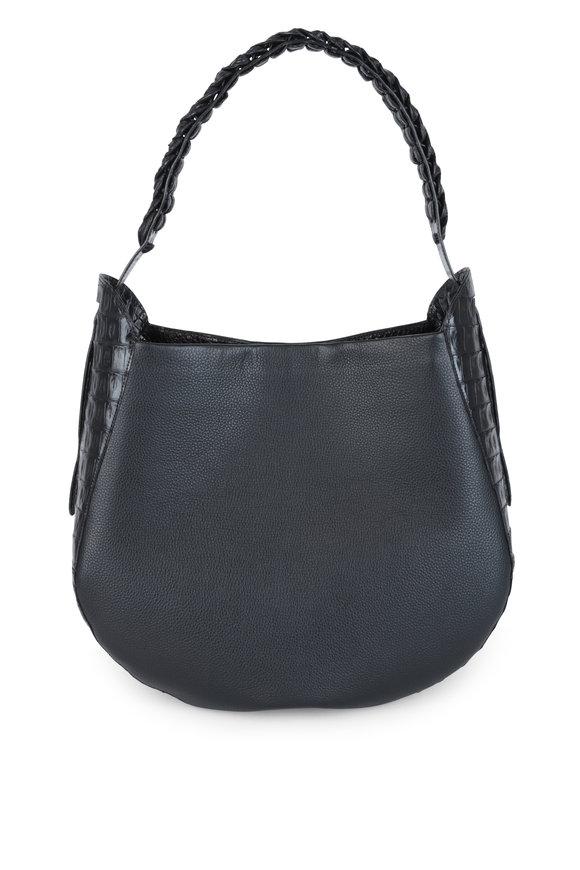 Nancy Gonzalez Black Leather & Crocodile Trim Hobo Bag