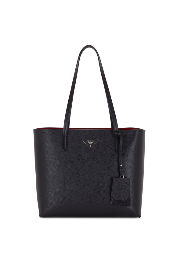 Prada Black Vitello Contrast Red Lining Large Tote