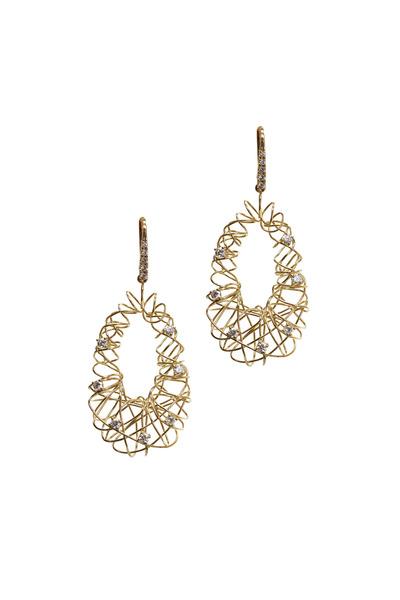 Frank Ancona - Yellow Gold Oval Basket Diamond Earrings