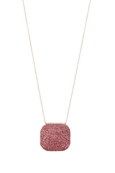 Tulah Jem - Rose Gold Pavé-Set Ruby Pendant Necklace