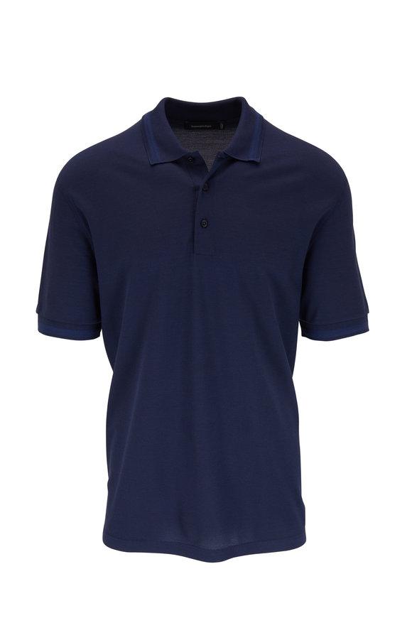 Ermenegildo Zegna Blue Cotton & Silk Short Sleeve Polo